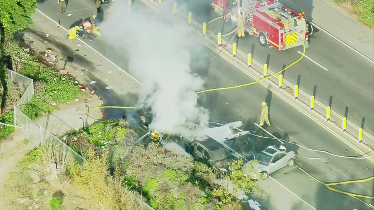 Pursuit Ends In Fiery Crash on PCH In Malibu, 1 Killed