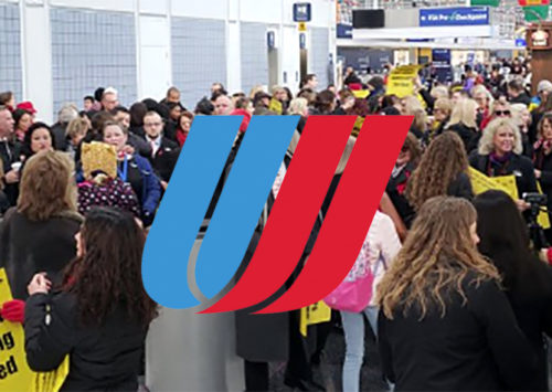 Workers protest at Chicago's O'Hare airport over staffing cuts by United Airlines