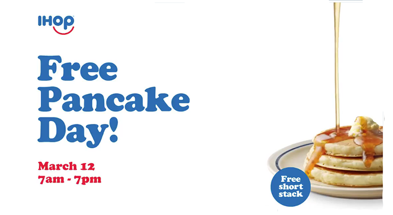 It's Free Pancake Day and IHOP is having free pancakes all day